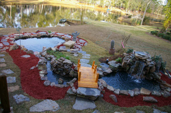 Pin backyard ponds on pinterest for Large koi pool